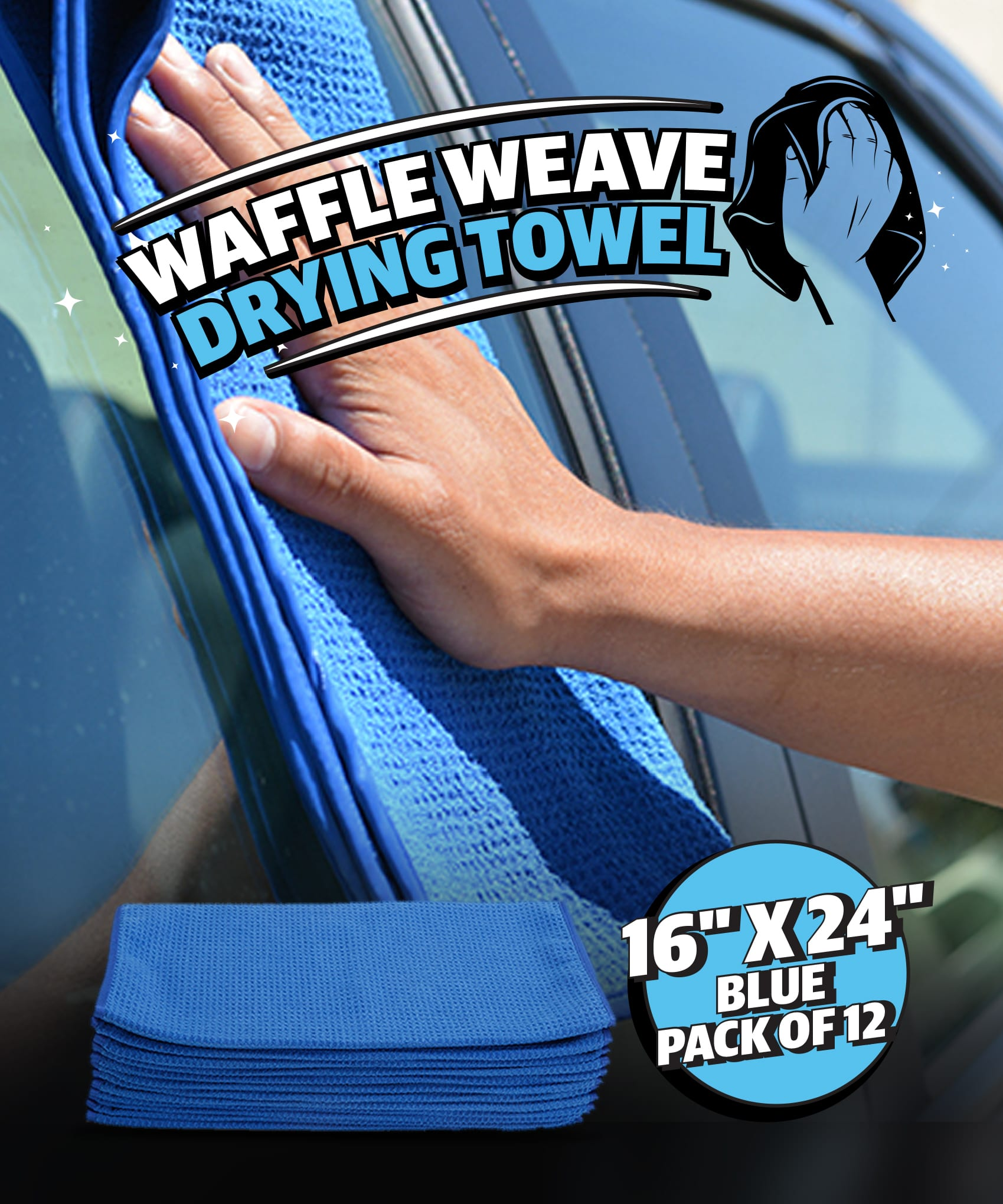 """Professional Grade Waffle Weave Microfiber Cleaning Cloths, 16"""" x 24"""" Blue - Each or Pack of 12"""