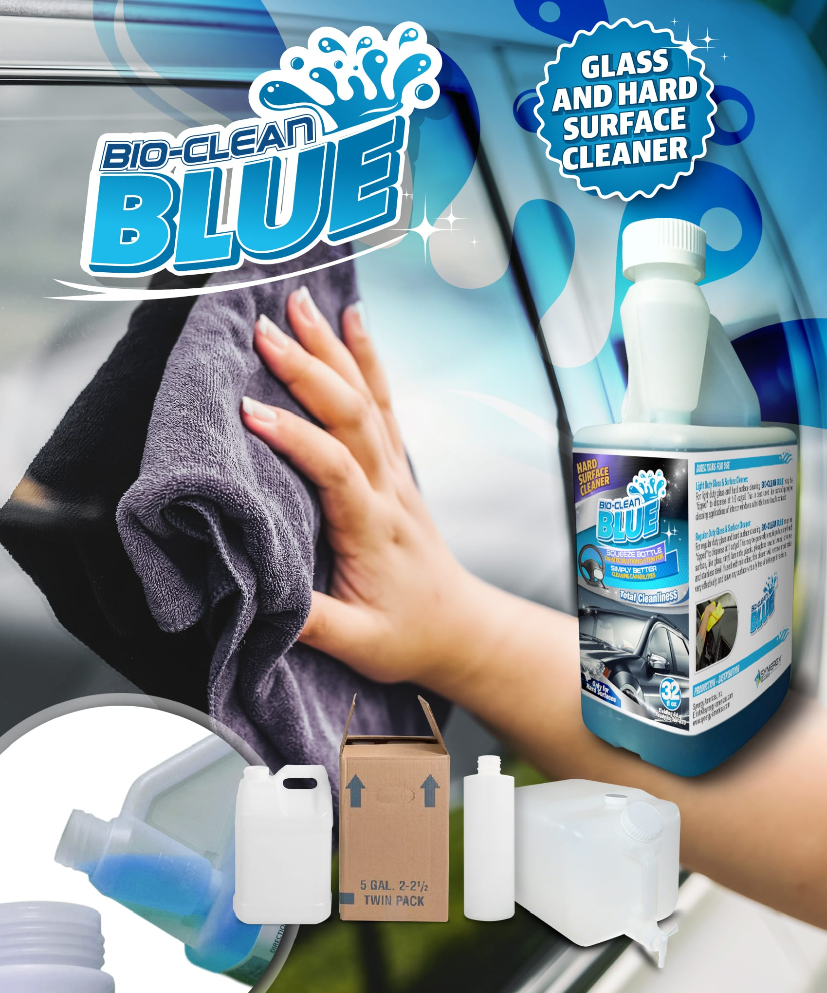 Synergy SB Bio-Clean BLUE - Glass & Surface Concentrate - Pints, Quarts or Cases