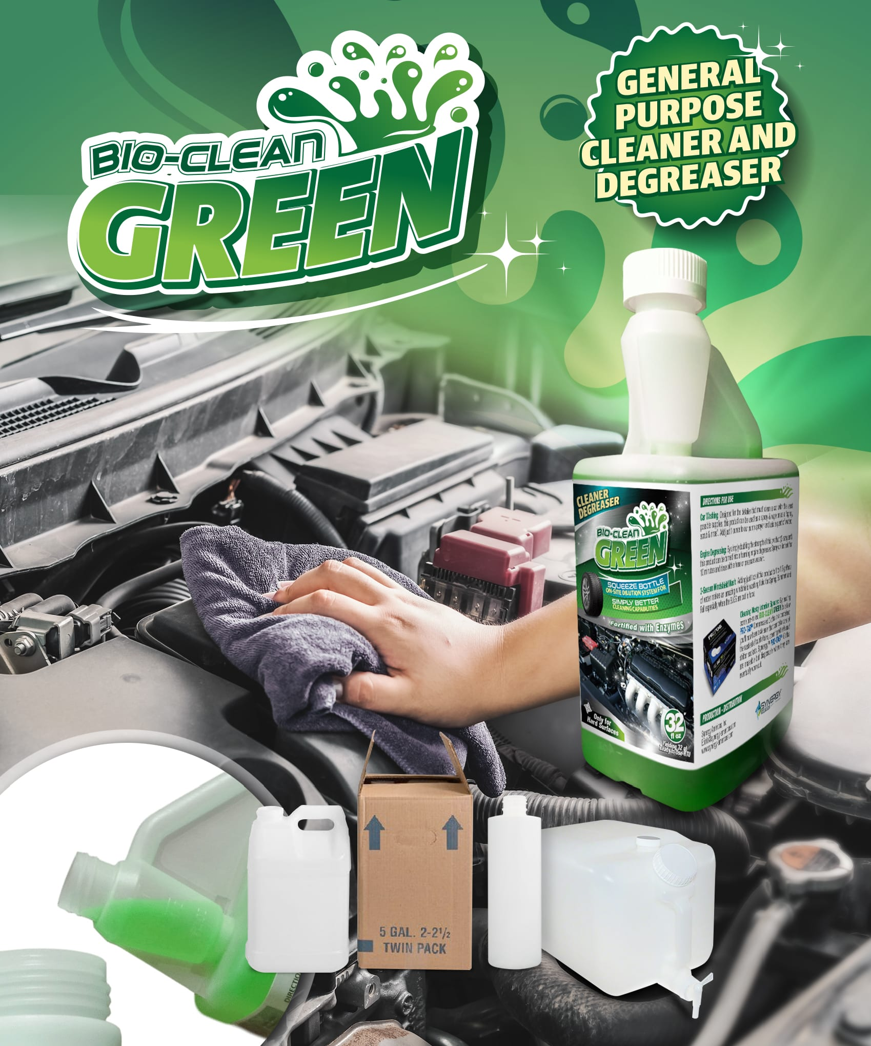 Synergy SB BioClean GREEN Concentrate - Pints, Quarts or Cases