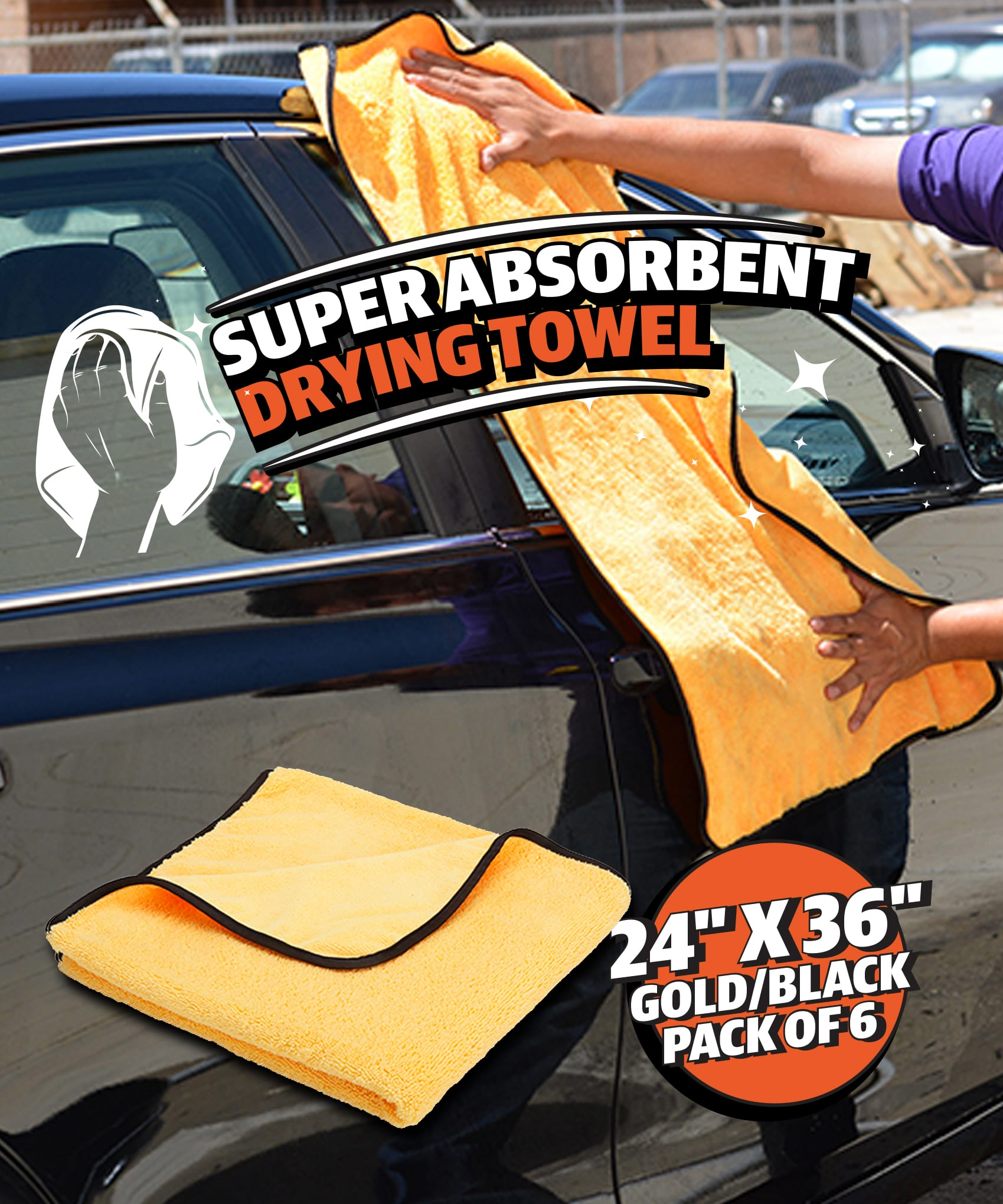 """Professional Grade Microfiber Elite Drying Cloths, 25"""" x 36"""" Gold/Black - Each or Pack of 6"""