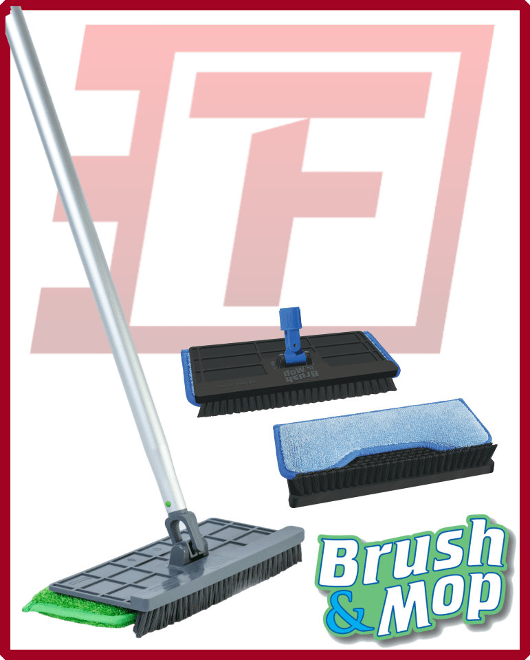The 3-D Simple Brush & Mop Kit - Handle, Head, 6 Pads & Caddy